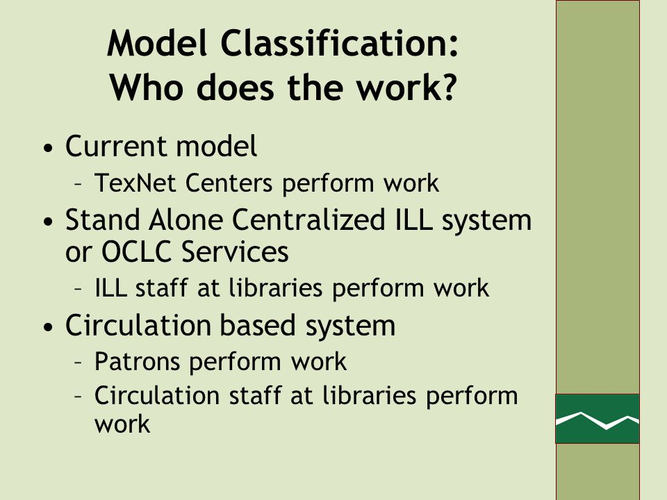 Model Classification: Who does the work.