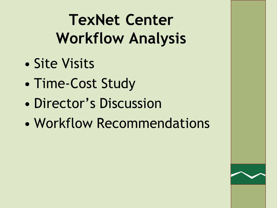 TexNet Center Workflow Analysis Site Visits Time-Cost Study Directors Discussion Workflow Recommendations