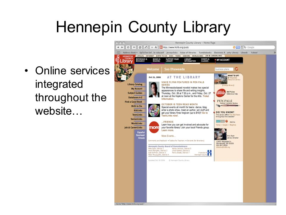 Hennepin County Library Online services integrated throughout the website…