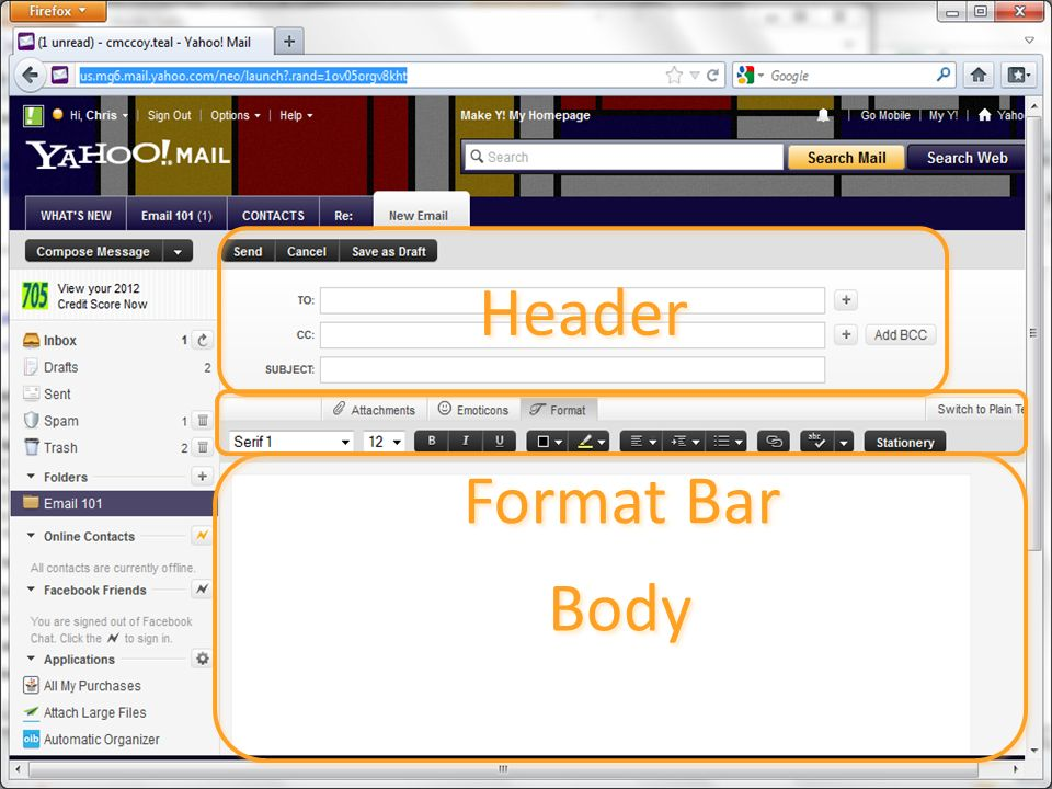 Header Body Format Bar