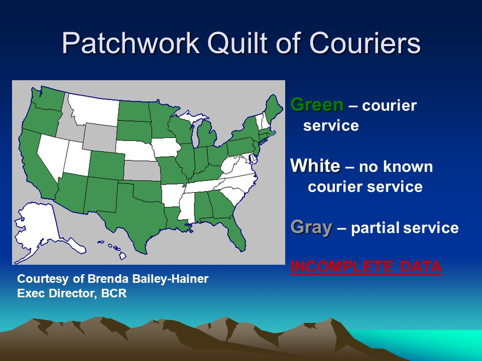 Couriers are Cost Effective 2003 LRS study found –US Mail, UPS or FedEx would cost Colorado $1.4 to $2.1 million more than the courier –Duplicated the study now – results Summer 2007 –www.lrs.org – search on courierwww.lrs.org Other state studies have duplicated these findings 2005 local library study found they spent 25 CENTS per courier transaction