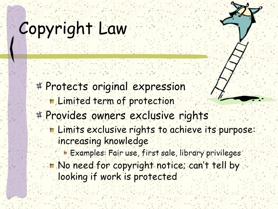 Copyright Law Protects original expression Limited term of protection Provides owners exclusive rights Limits exclusive rights to achieve its purpose: increasing knowledge Examples: Fair use, first sale, library privileges No need for copyright notice; cant tell by looking if work is protected