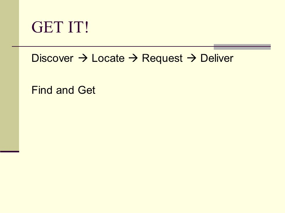 GET IT! Discover Locate Request Deliver Find and Get