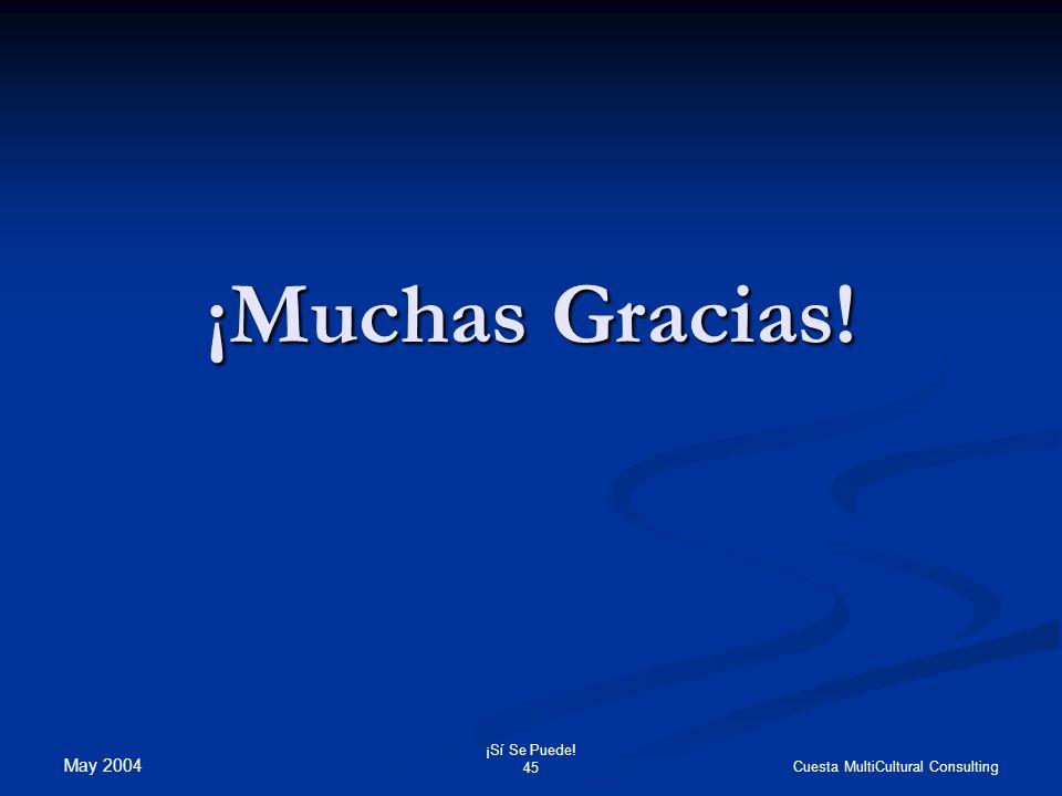 May 2004 ¡Sí Se Puede! 45 Cuesta MultiCultural Consulting ¡Muchas Gracias!