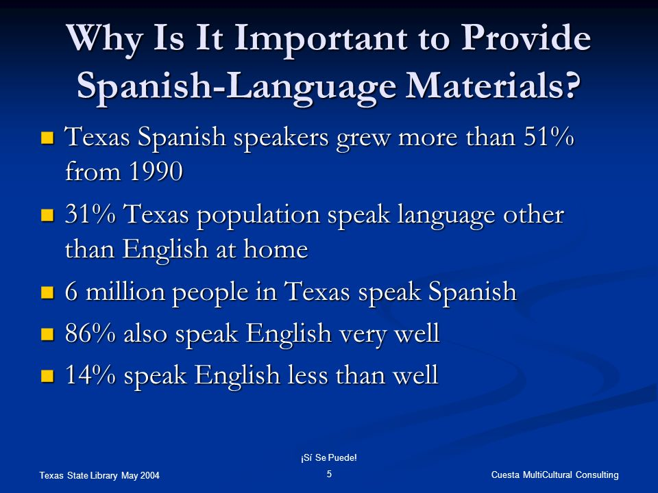 Texas State Library May 2004 Cuesta MultiCultural Consulting ¡Sí Se Puede! 5 Why Is It Important to Provide Spanish-Language Materials? Texas Spanish