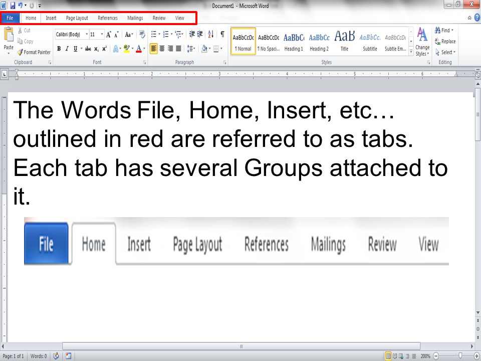 The Words File, Home, Insert, etc… outlined in red are referred to as tabs. Each tab has several Groups attached to it.