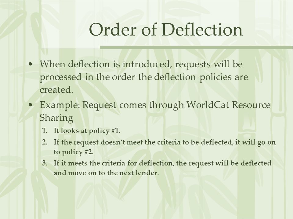 Order of Deflection When deflection is introduced, requests will be processed in the order the deflection policies are created. Example: Request comes