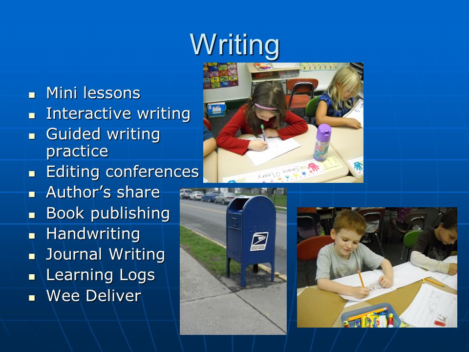 Writing Mini lessons Mini lessons Interactive writing Interactive writing Guided writing practice Guided writing practice Editing conferences Editing conferences Authors share Authors share Book publishing Book publishing Handwriting Handwriting Journal Writing Journal Writing Learning Logs Learning Logs Wee Deliver Wee Deliver
