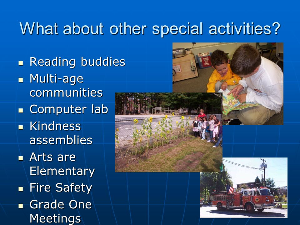 What about other special activities.