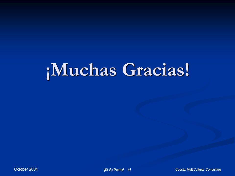 October 2004 ¡Sí Se Puede! 46 Cuesta MultiCultural Consulting ¡Muchas Gracias!