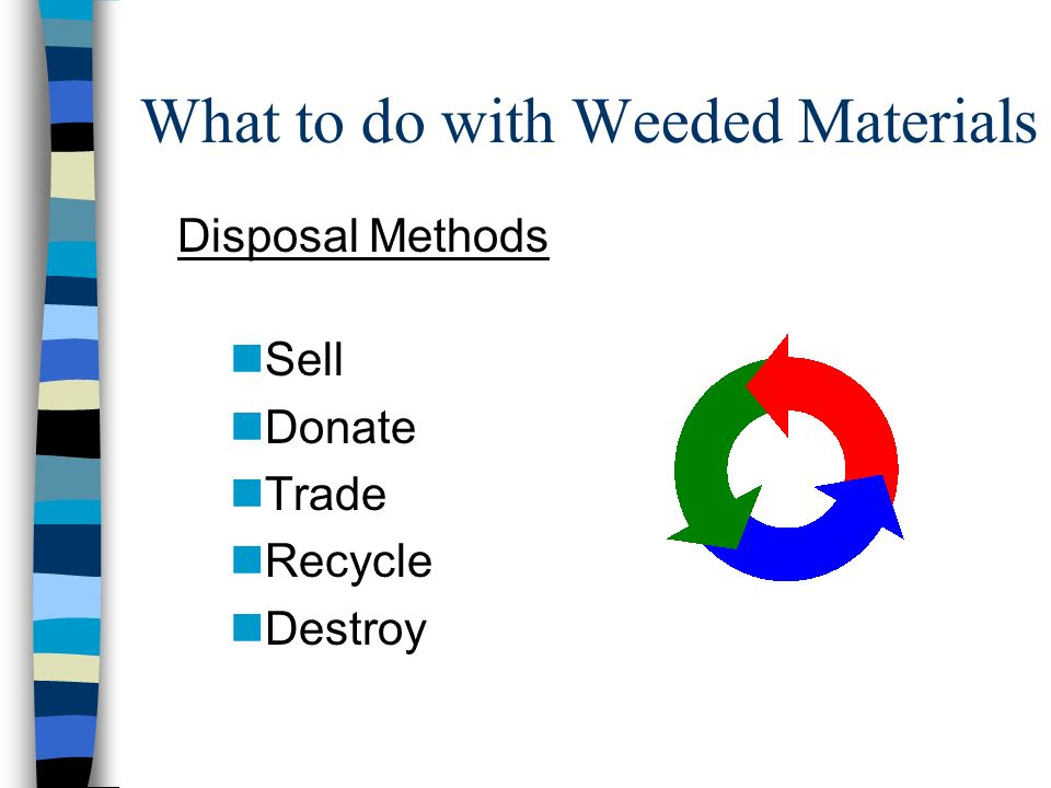 What to do with Weeded Materials Disposal Methods nSell nDonate nTrade nRecycle nDestroy