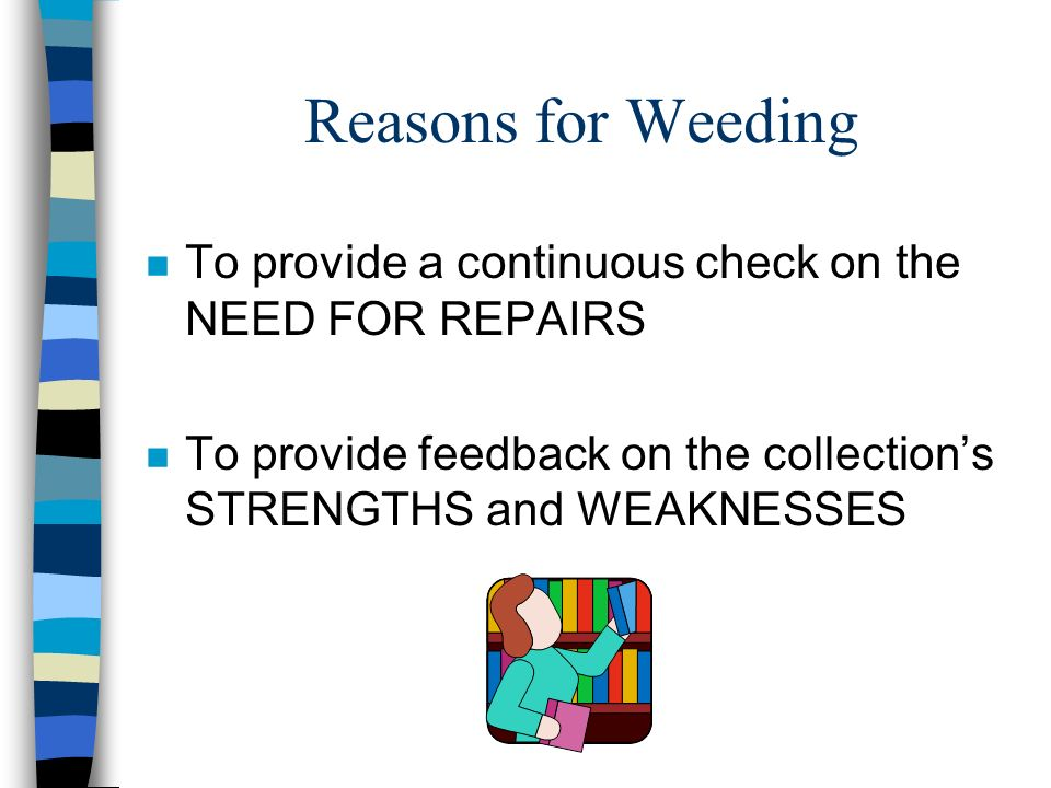 Weeding Criteria (all materials) n Shelf-time n Replacement expense n Relevance to the community n Other resources available