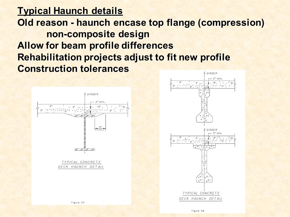 Typical Haunch details Old reason - haunch encase top flange (compression) non-composite design Allow for beam profile differences Rehabilitation projects adjust to fit new profile Construction tolerances