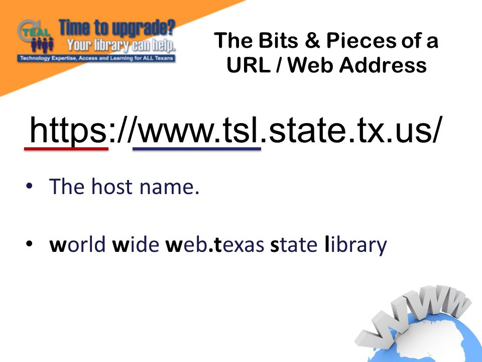 The Bits & Pieces of a URL / Web Address The host name.