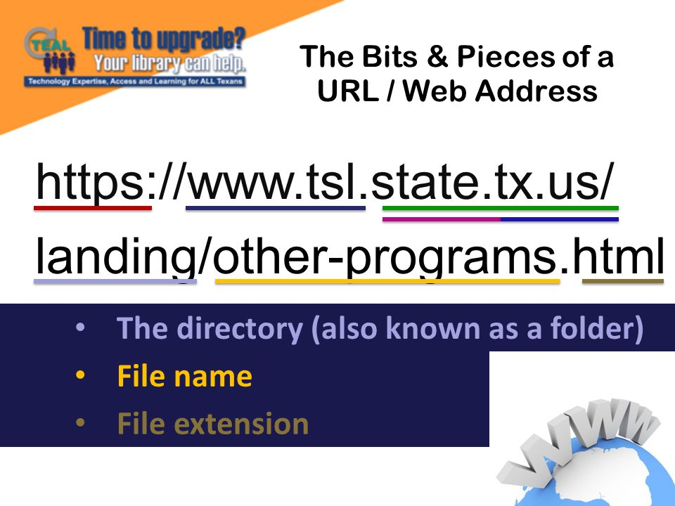 https://www.tsl.state.tx.us/ landing/other-programs.html The Bits & Pieces of a URL / Web Address File extension The directory (also known as a folder) File name