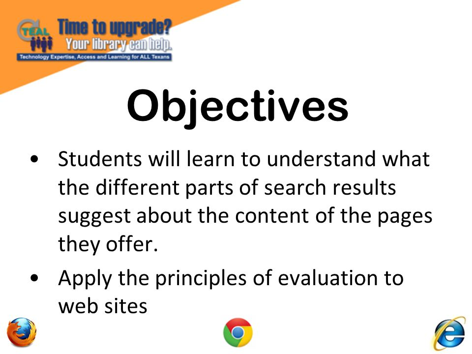 Students will use and compare search strategies using Boolean and operator search modifiers.