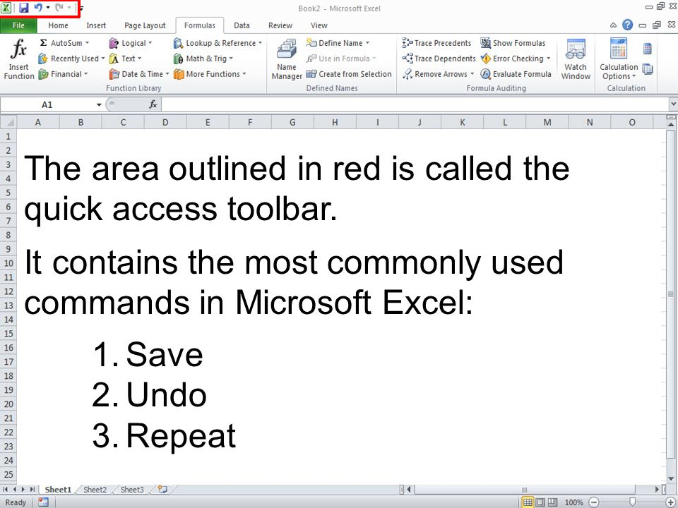 The area outlined in red is called the quick access toolbar. It contains the most commonly used commands in Microsoft Excel: 1.Save 2.Undo 3.Repeat