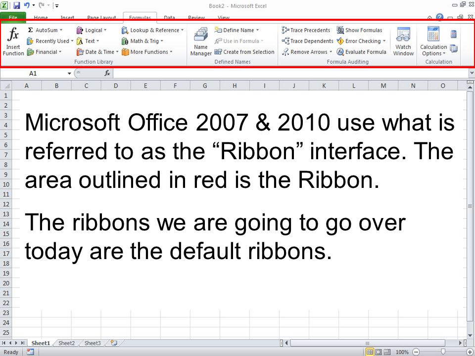 Microsoft Office 2007 & 2010 use what is referred to as the Ribbon interface. The area outlined in red is the Ribbon. The ribbons we are going to go o