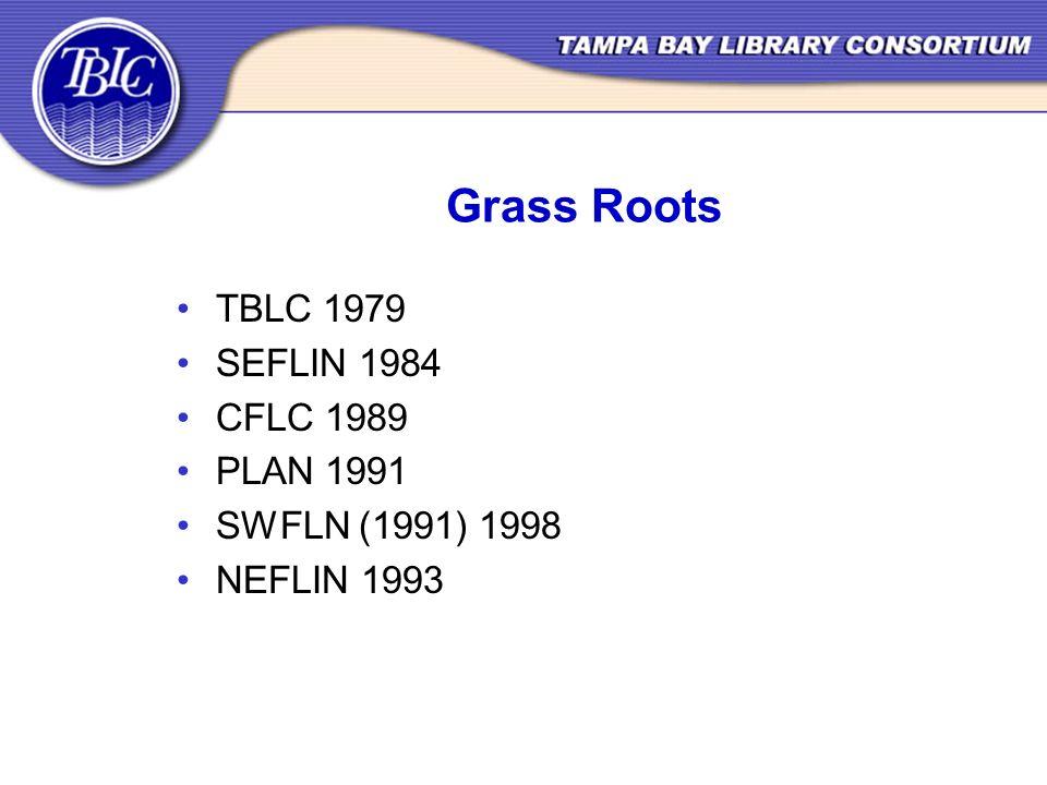 Grass Roots TBLC 1979 SEFLIN 1984 CFLC 1989 PLAN 1991 SWFLN (1991) 1998 NEFLIN 1993