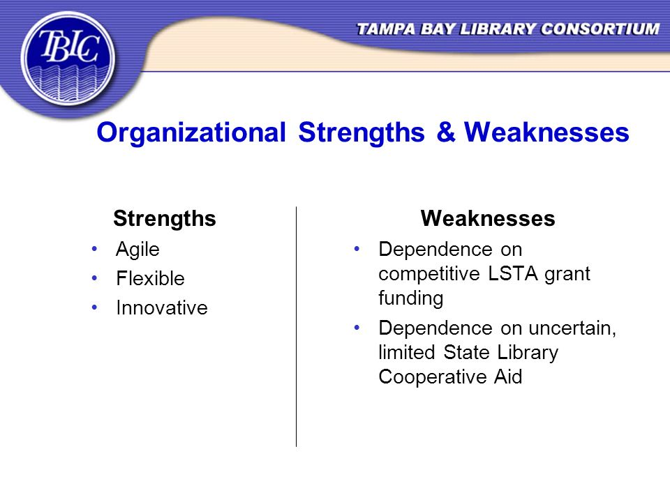 Organizational Strengths & Weaknesses Strengths Agile Flexible Innovative Weaknesses Dependence on competitive LSTA grant funding Dependence on uncertain, limited State Library Cooperative Aid