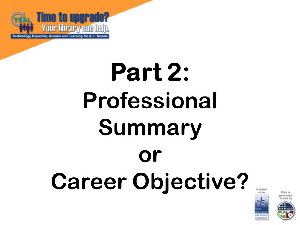 Part 2: Professional Summary or Career Objective