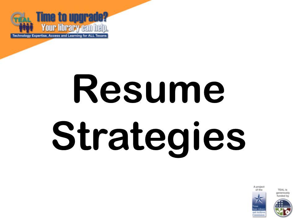 Resume Strategies