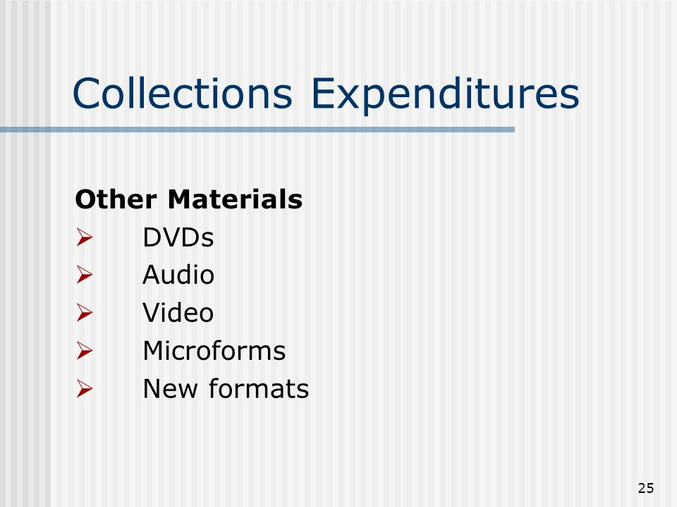25 Collections Expenditures Other Materials DVDs Audio Video Microforms New formats