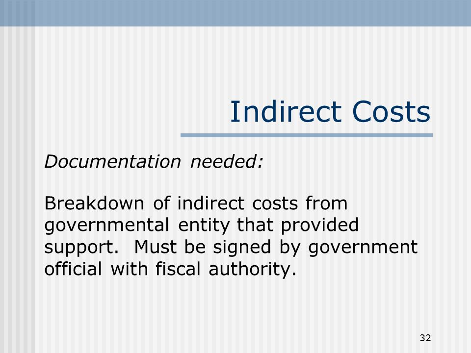 32 Indirect Costs Documentation needed: Breakdown of indirect costs from governmental entity that provided support.