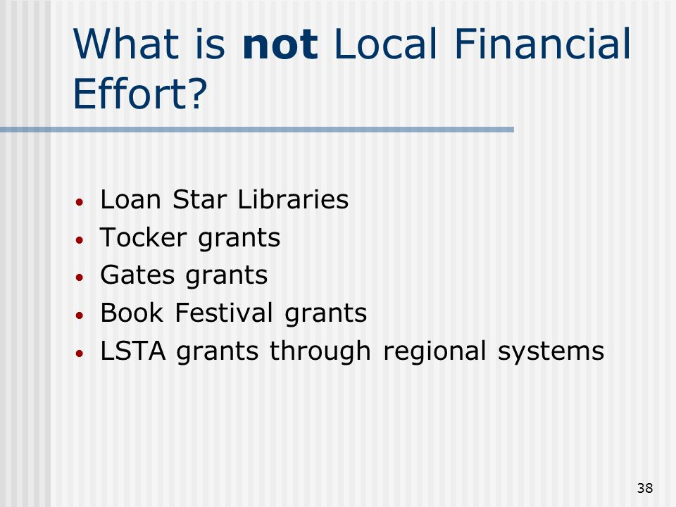 38 What is not Local Financial Effort.