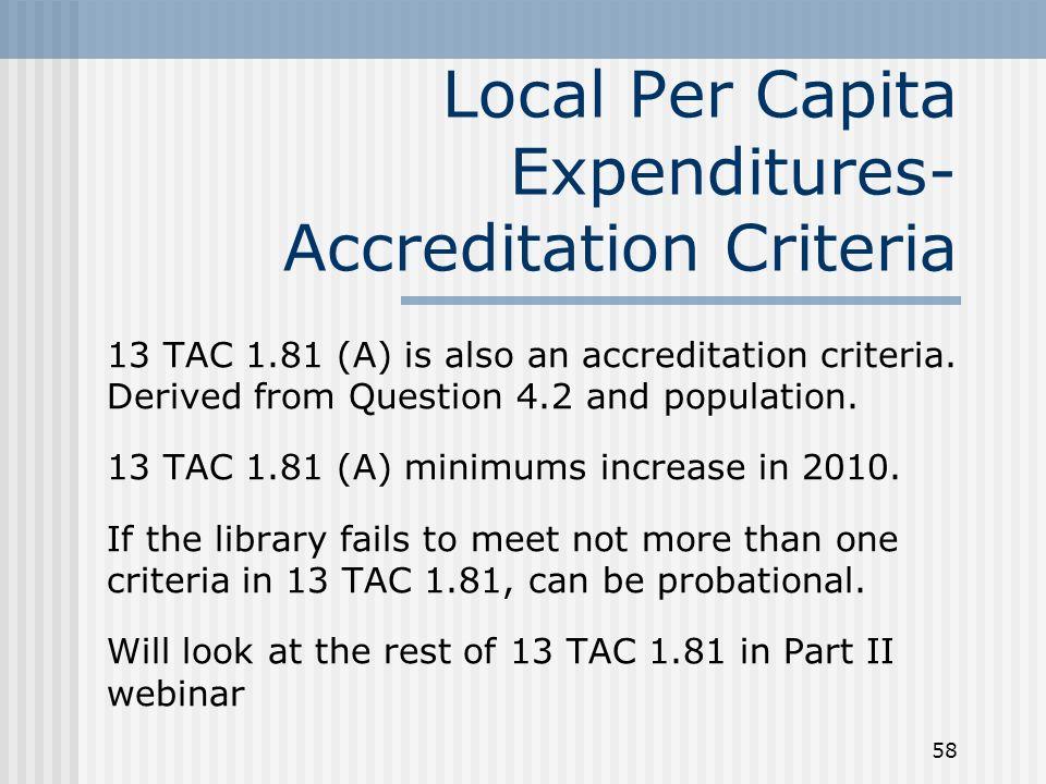 58 Local Per Capita Expenditures- Accreditation Criteria 13 TAC 1.81 (A) is also an accreditation criteria.