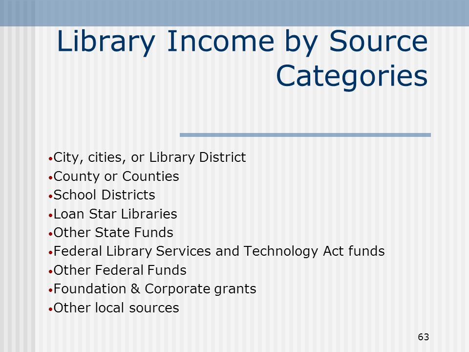 63 Library Income by Source Categories City, cities, or Library District County or Counties School Districts Loan Star Libraries Other State Funds Federal Library Services and Technology Act funds Other Federal Funds Foundation & Corporate grants Other local sources