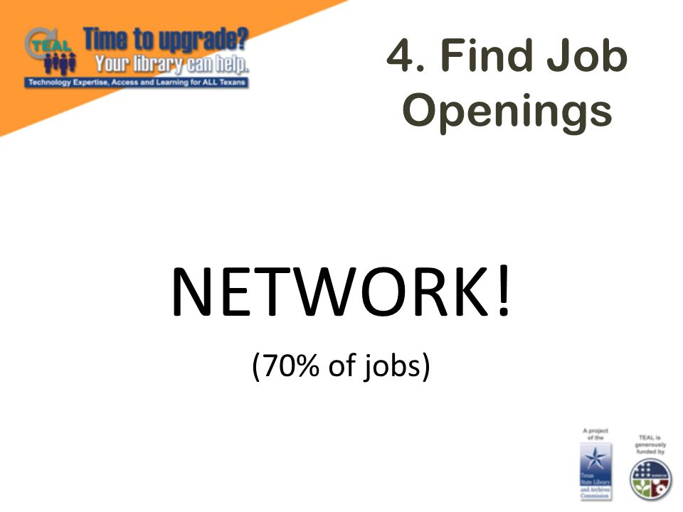 4. Find Job Openings NETWORK! (70% of jobs)