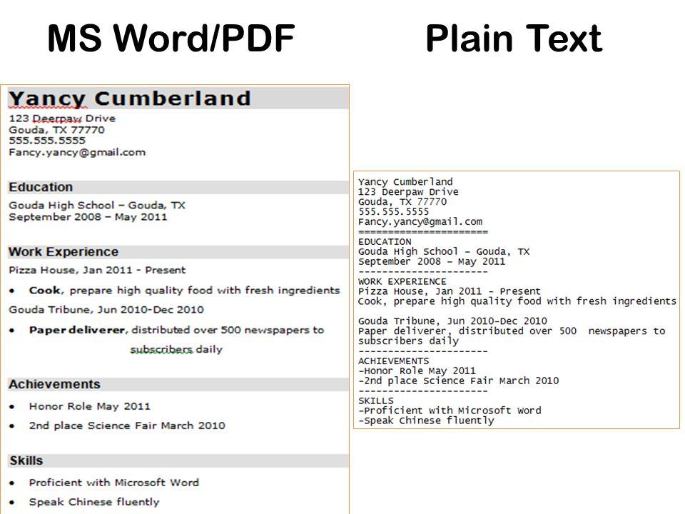 MS Word/PDFPlain Text