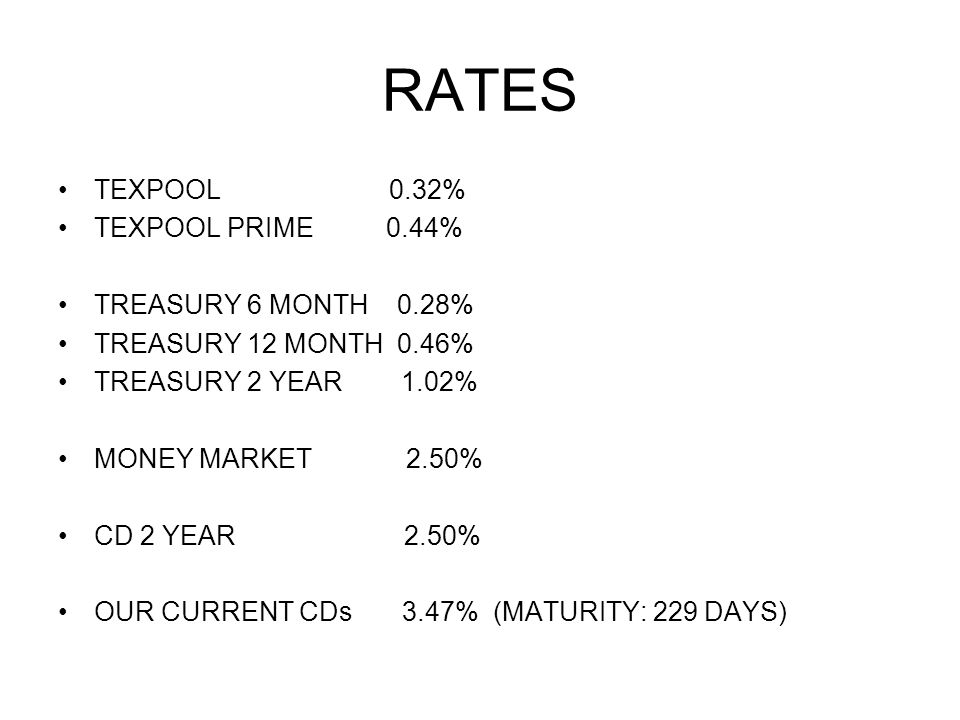 RATES TEXPOOL 0.32% TEXPOOL PRIME 0.44% TREASURY 6 MONTH 0.28% TREASURY 12 MONTH 0.46% TREASURY 2 YEAR 1.02% MONEY MARKET 2.50% CD 2 YEAR 2.50% OUR CURRENT CDs 3.47% (MATURITY: 229 DAYS)