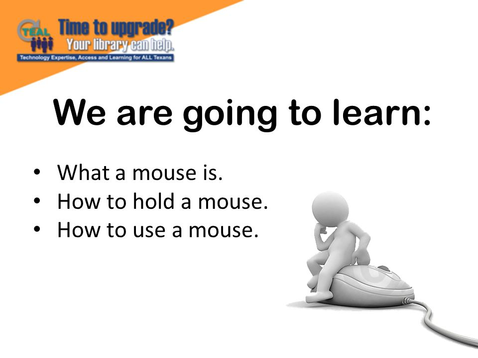 We are going to learn: What a mouse is. How to hold a mouse. How to use a mouse.