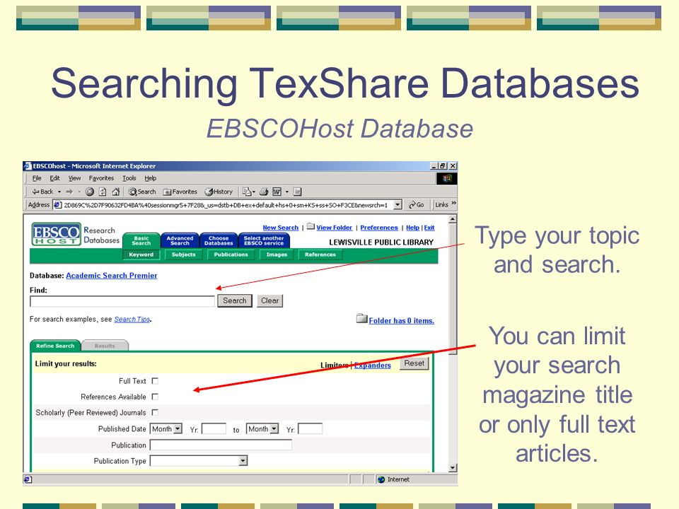 EBSCOHost Database Type your topic and search.