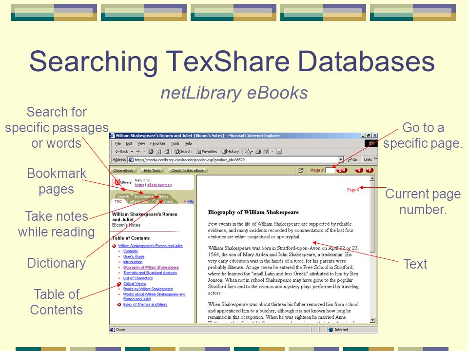 Searching TexShare Databases netLibrary eBooks Go to a specific page.