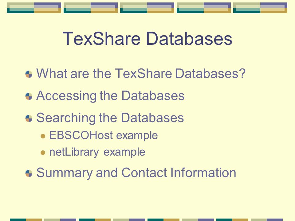 What Are The TexShare Databases.