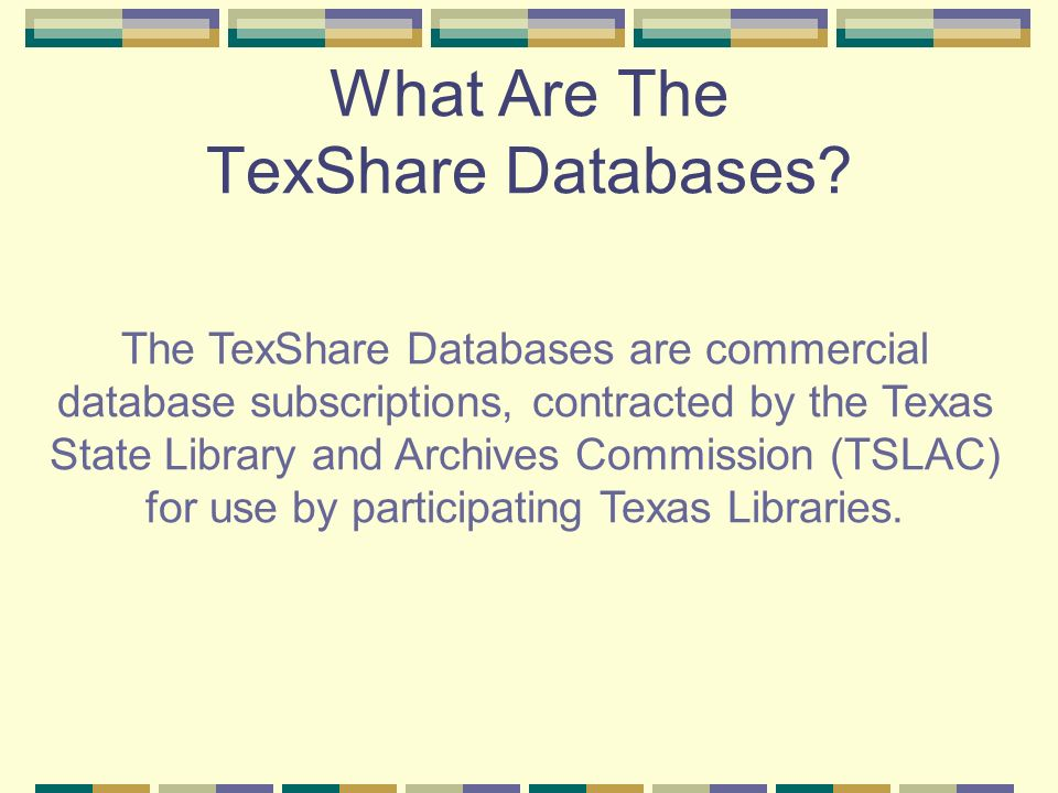 Searching TexShare Databases Search for your topic Find citations Read articles online Print articles E-mail articles EBSCOHost Database EBSCO offers one-stop shopping for articles