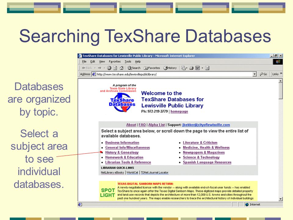 EBSCOHost Database Each subject area includes several databases.