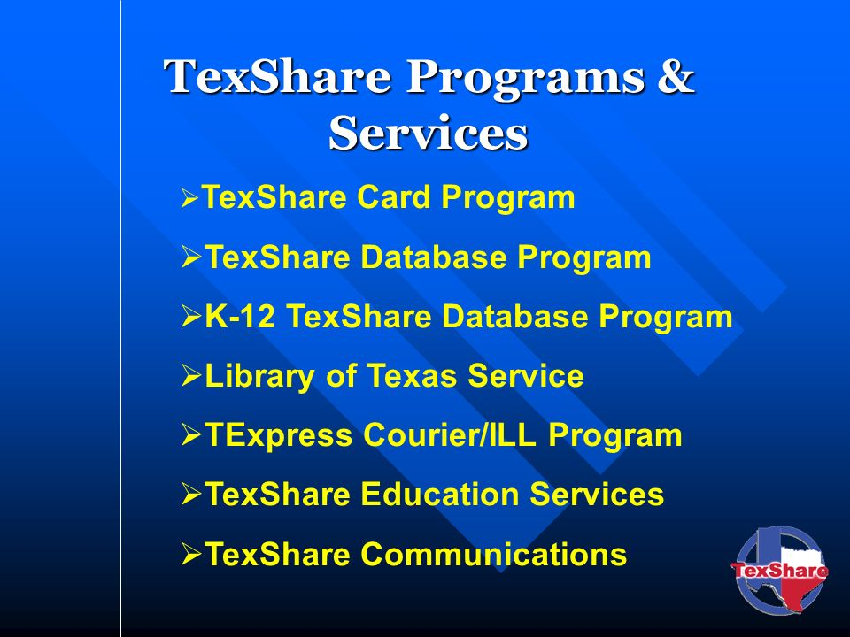 TexShare Programs & Services TexShare Card Program TexShare Database Program K-12 TexShare Database Program Library of Texas Service TExpress Courier/ILL Program TexShare Education Services TexShare Communications