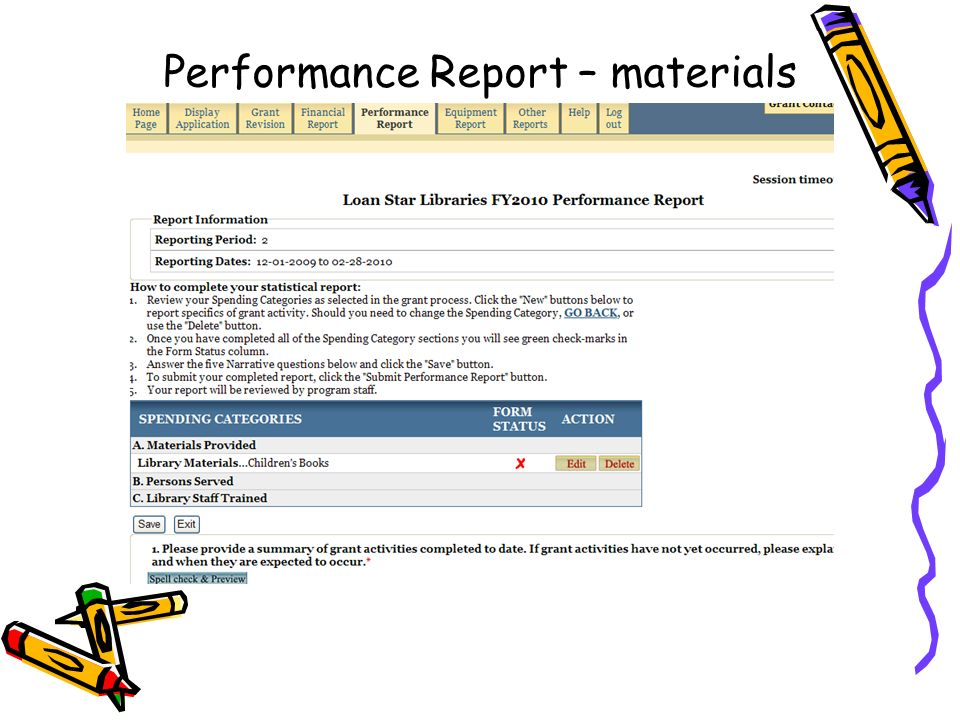 Performance Report – materials