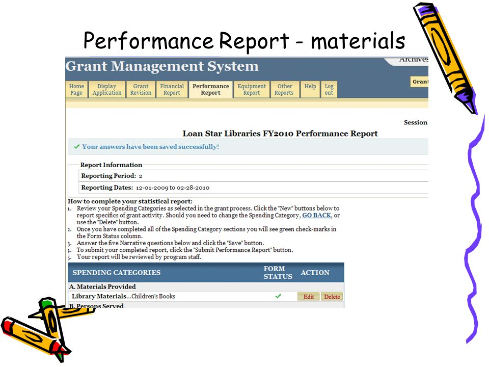 Performance Report - materials