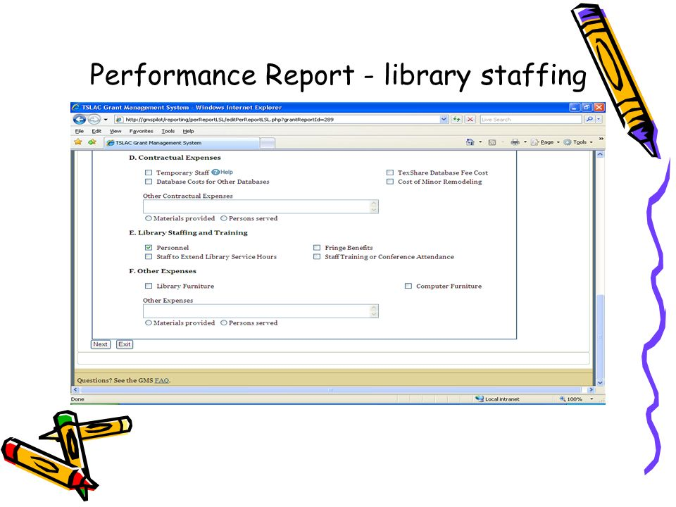 Performance Report - library staffing