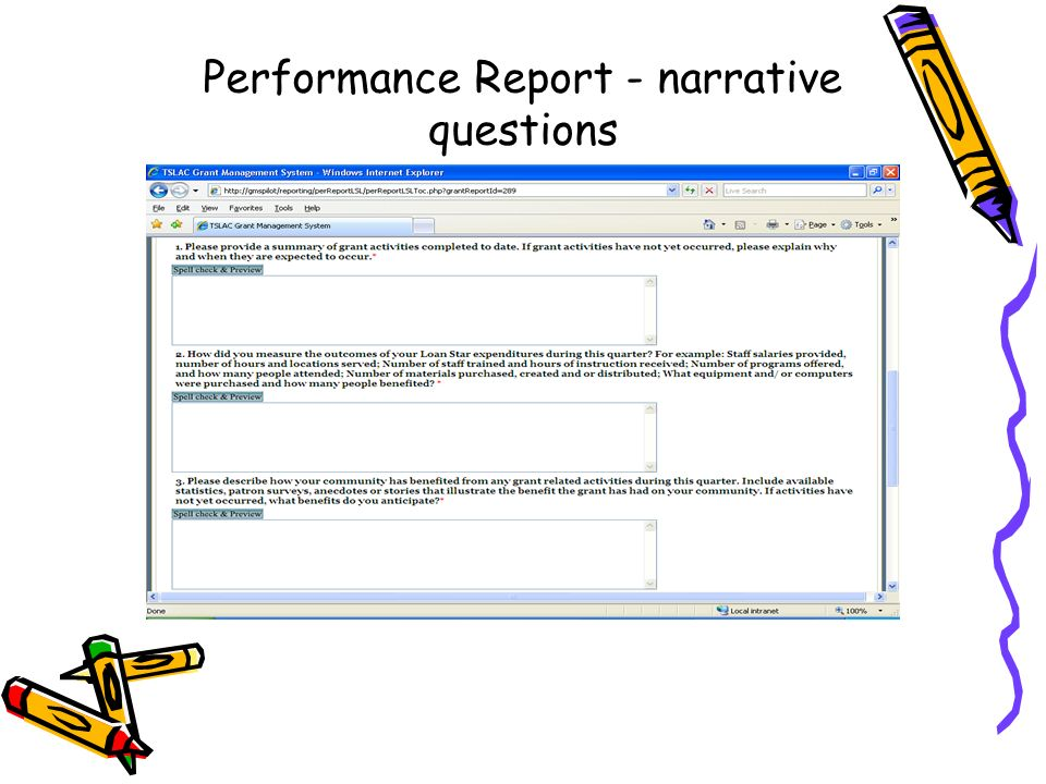 Performance Report - narrative questions