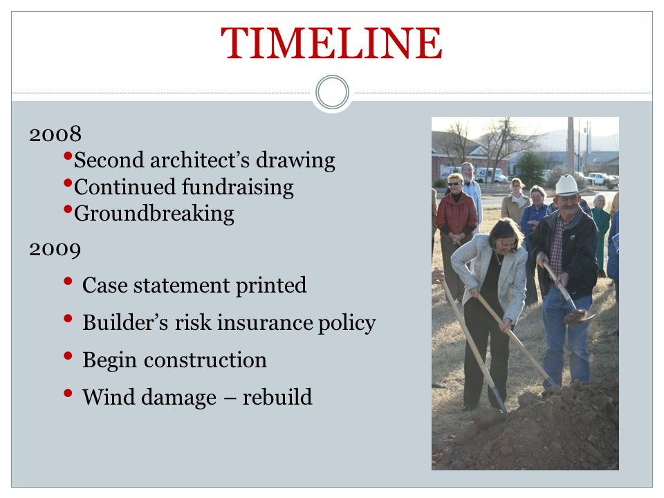2008 Second architects drawing Continued fundraising Groundbreaking 2009 Case statement printed Builders risk insurance policy Begin construction Wind damage – rebuild TIMELINE