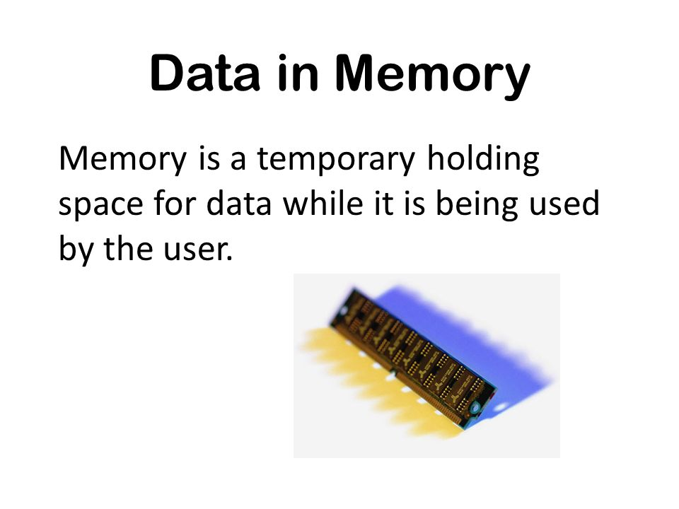 Memory is a temporary holding space for data while it is being used by the user.
