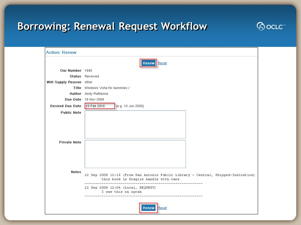 Borrowing: Renewal Request Workflow