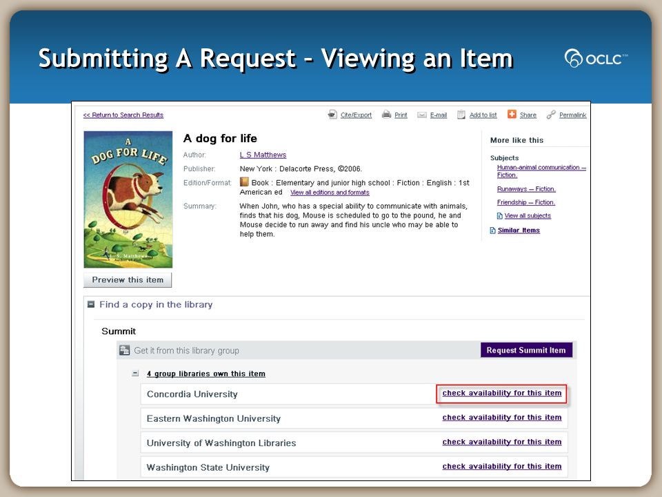 Submitting A Request – Viewing an Item