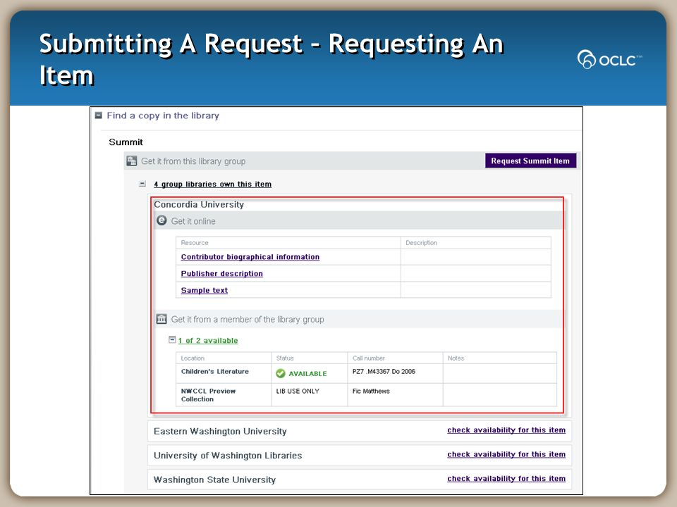 Submitting A Request – Requesting An Item